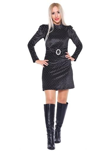 İroni Puantiyeli Mini Elbise Siyah